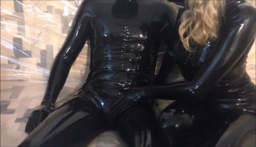 condom-blowjob-in-total-black-latex-catsuits-enclosure